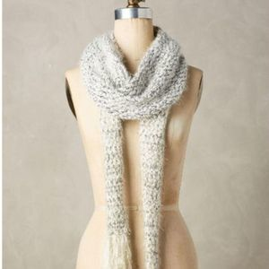 Anthropologie White Tinselknit Scarf